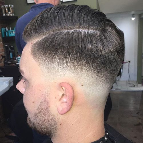 Mid Fade Comb Over with Hard Part and Beard