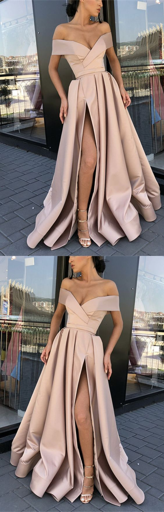 Sexy Split Long Satin Off-The-Shoulder Prom Evening Dresses M5318