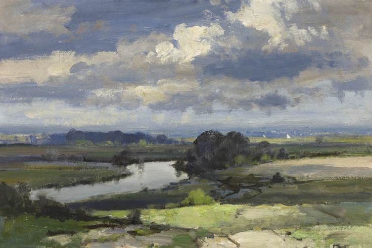 Edward Seago came to know the estuaries, rivers and broads of his beloved Norfolk intimately during his life time, the water snaking the landscape, reflecting the vast skies, emphasised by the characteristically flat landscape. Seago came to understand the importance of water both as lively hood and life source and constant inspiration in his art.