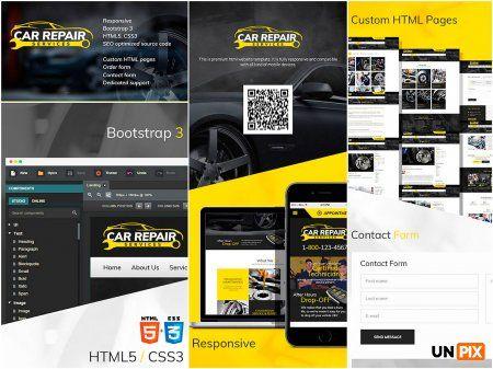 Автомеханик – шаблон сайта для автосервиса. Адаптивная вёрстка HTML позволит увидеть Ваш сайт на любых