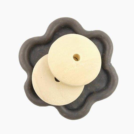 x6 Perle palette rondelle bois brut rond 25mm (55C)