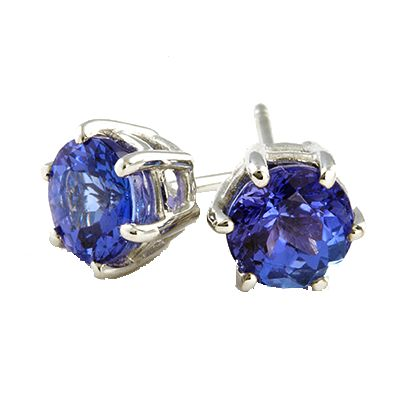 18ct white gold tanzanite 6 claw stud earrings. 2x 1.00ct round brilliant cut tanzanites are set in a classic claw.  We have a wide selection in our showroom. Contact us to ask for quotes on various sizes.