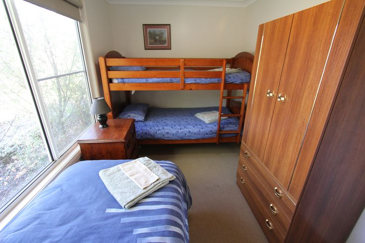 The third bedroom with single bed and bunk.  Great for the kids