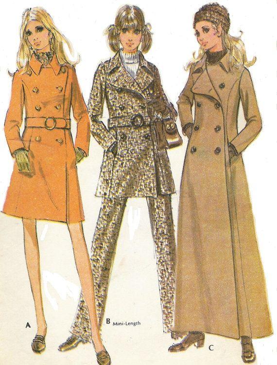 1960s Womens Coat in 2 Lengths & Pantsuit Pea Coat by CloesCloset