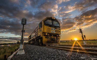 Scarica sfondi ferrovia, semaforo, vecchia locomotiva, nuova zelanda