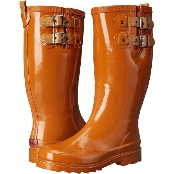 Chooka Top Solid Rain Boot (Spice Orange) Women's Rain Boots ($28) ❤ liked on Polyvore featuring shoes, boots, orange, slip on shoes, short heel boots, wellies boots, low-heel boots and rubber sole boots