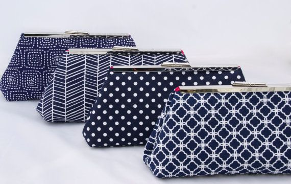 Navy Bridal Party Clutch Set- Custom Made.  Clean, crisp and modern!