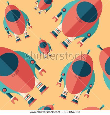 Robot rocket flat icon seamless pattern. #robots #robotics #vectorpattern #patterndesign #seamlesspattern