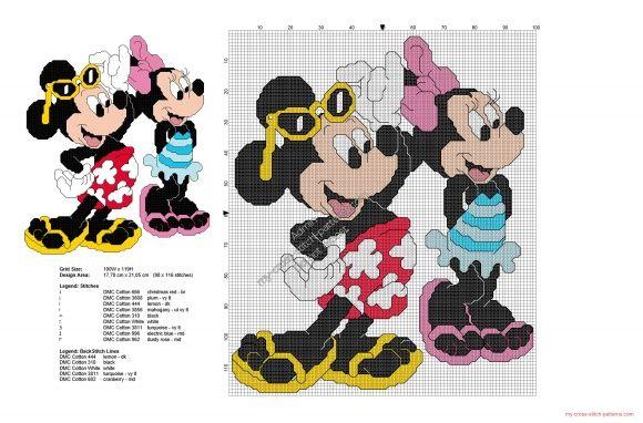 Eté avec Mickey et Minnie grille point de croix Disney