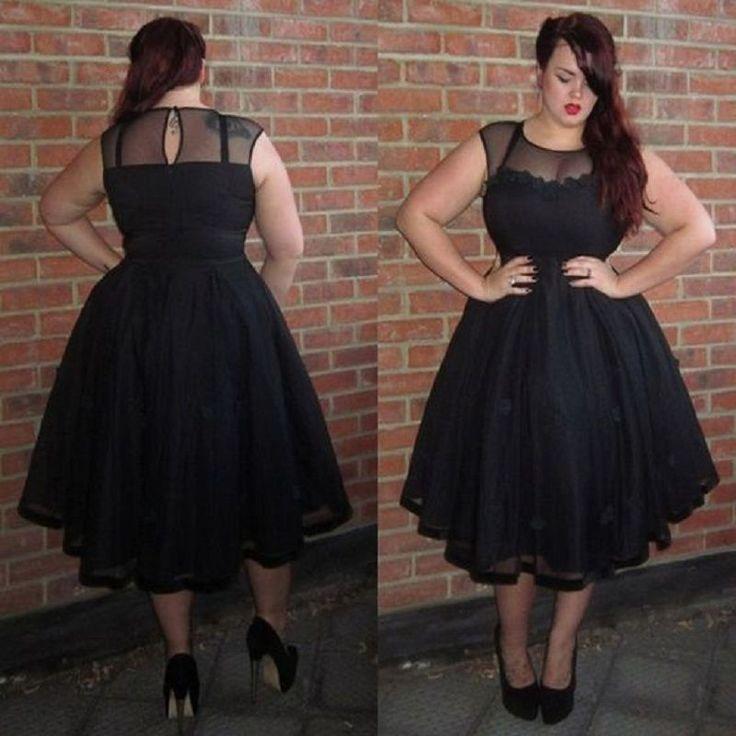 2016 Plus Size Sexy Black Tea Length Cocktail Dresses Tulle Prom Coctail robe de Cocktail Party Dress vestido de festa curto