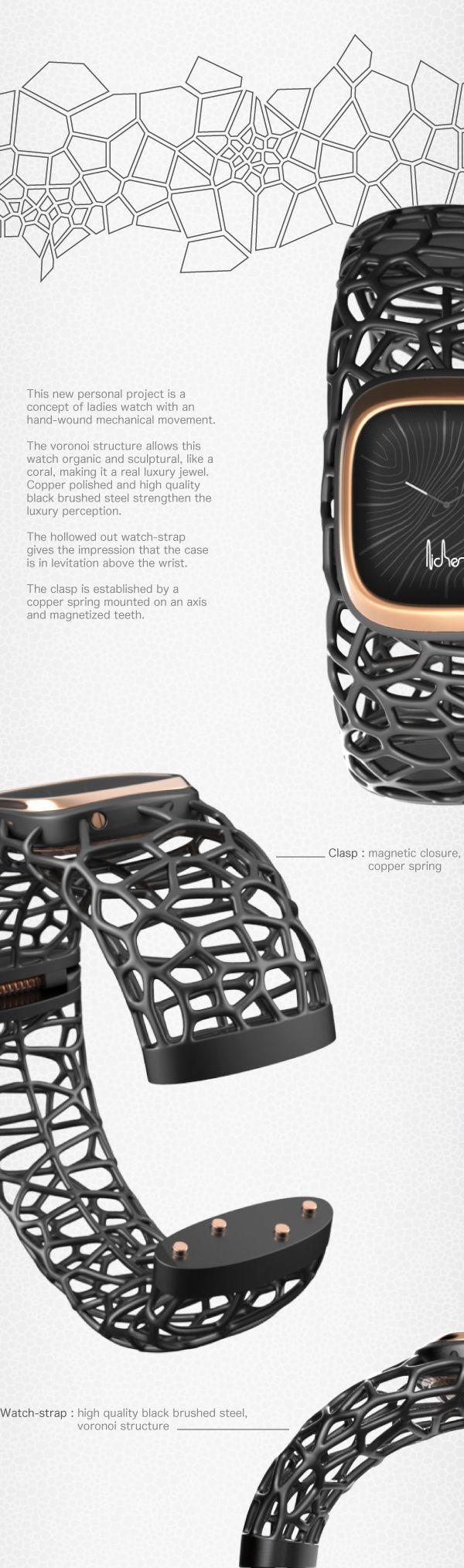 3d프린터로 만들수있는 와치밴드. 사용자 각각이 원하는 디자인으로 다양하게 제작할수있다. 앞으로 이런방식의 디자인이 점점 많이 생길것같다.