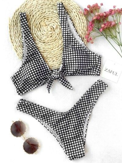 SHARE & Get it FREE | Front Tie Thong Plaid Bikini Set - White And Black SFor Fashion Lovers only:80,000+ Items • New Arrivals Daily Join Zaful: Get YOUR $50 NOW!