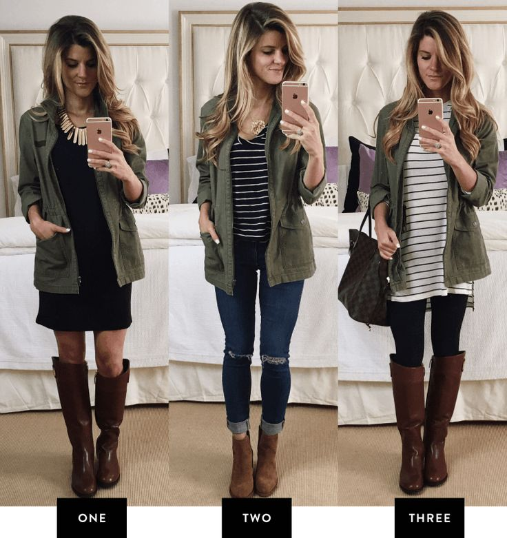 Olive green parka jacket outfit