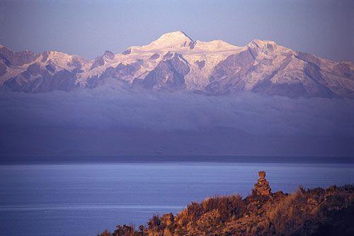 Lake Titicaca, the Island of the Moon,   and the holy mountains of Ancohuma and Illampu, Bolivia