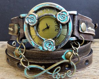 Brown Leather Wrap Watch with Tree of Life by CuckooNestArtStudio