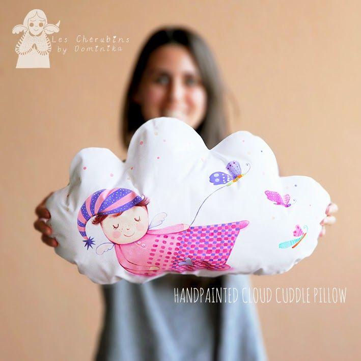 handpainted cloud cuddle pillow by Les Cherubins - Dominika Bozic