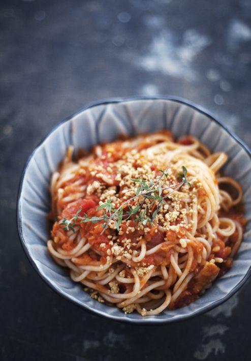 Spagetti med linsfärs | Det gröna skafferiet