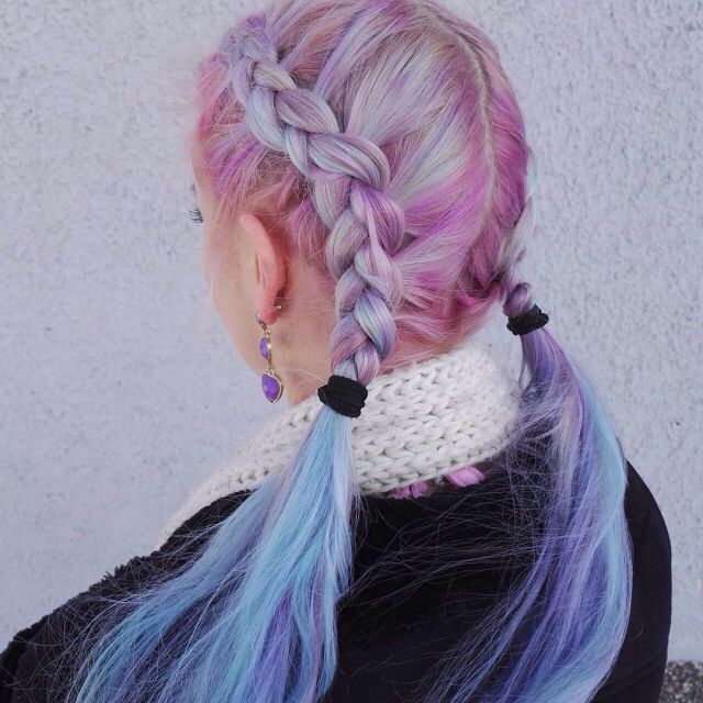 Light pink to light blue ombre hair #galaxyhair #unicornhair