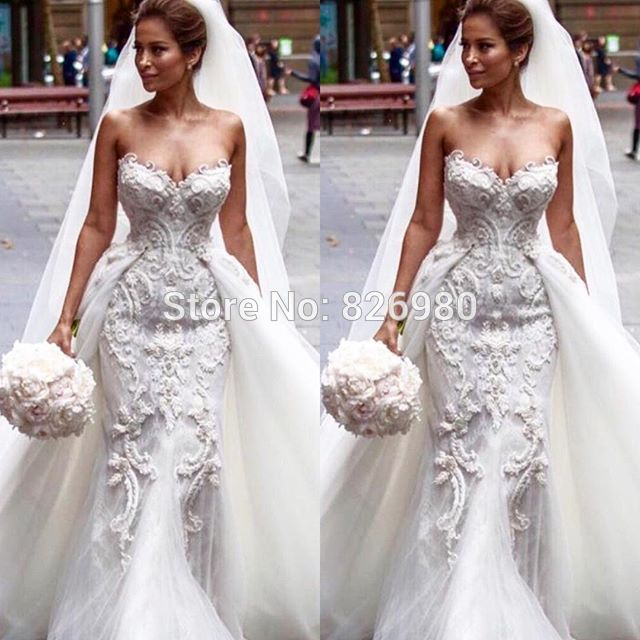 Luxury YWD102 Sexy Mermaid Lace Wedding Dresses with Detachable Train 2016