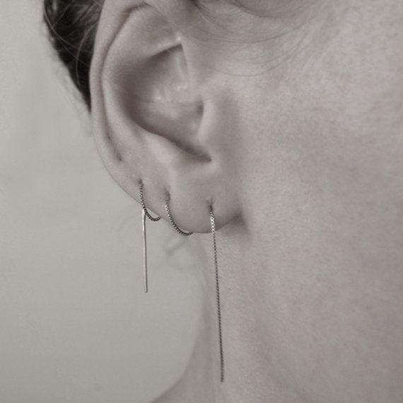 Ina chain earring minimalistic ear thread Single by BellabyBella