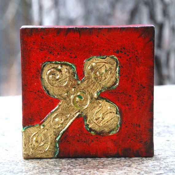 Cross ART original painting 6x6 by haveart on Etsy.