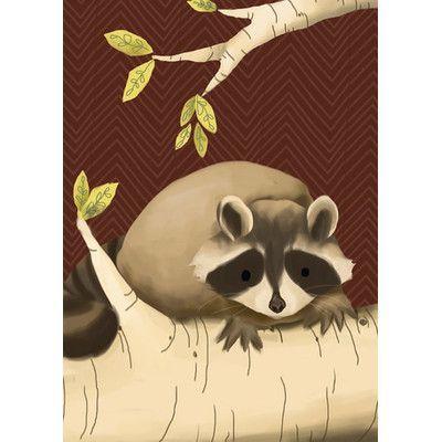 "Oopsy Daisy Meeko the Raccoon Brown Canvas Art Size: 10"" H x 14"" W x 1.5"" D"