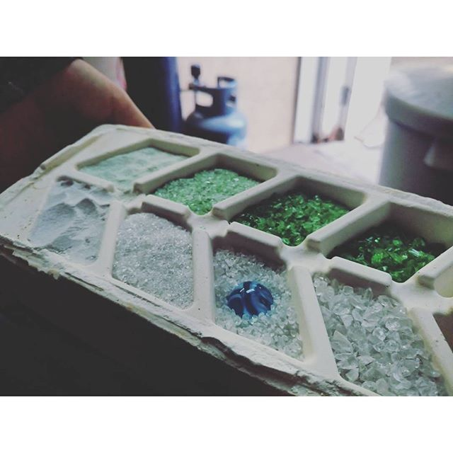 Tray of glass before it went into the kiln yesterday