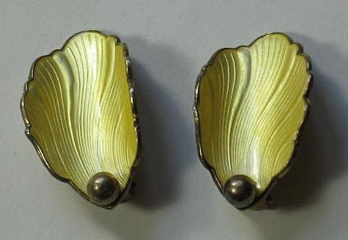 Hans Myhre Yellow Guilloche Enamel and Sterling Silver Clip Earrings ~ from the-big-o on Ruby Lane