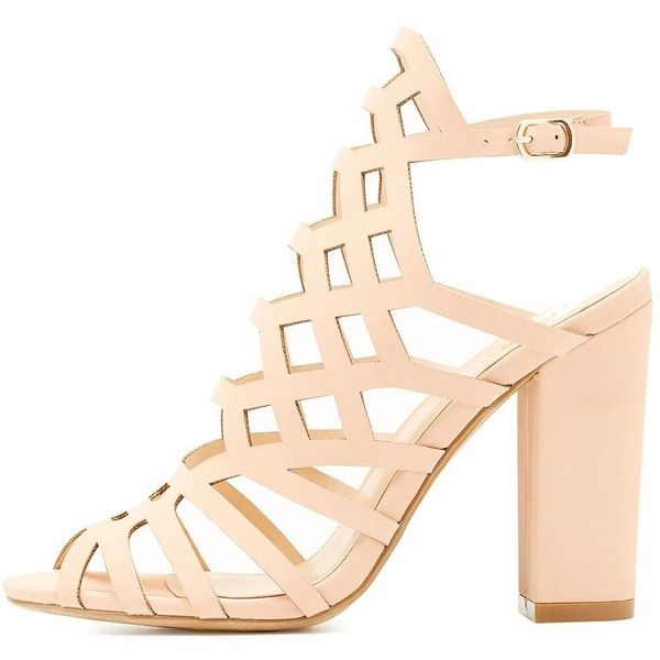 Hotsoles Laser Cut Caged Dress Sandals ($33) ❤ liked on Polyvore featuring shoes, sandals, nude, dress sandals, buckle sandals, nude heeled sandals, nude sandals and chunky heel sandals