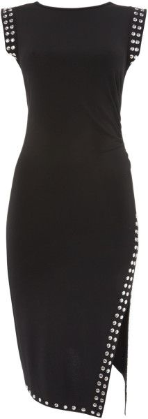 Michael Kors Uneven Hem Dress with Studded Border in Black - Lyst