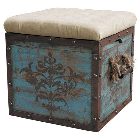 Hand-painted ottoman with a reversible button-tufted top.  Product: OttomanConstruction Material: Hardwood, poly...