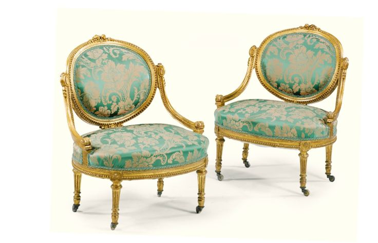 A pair of carved giltwood armchairs Napoleon III, circa 1870