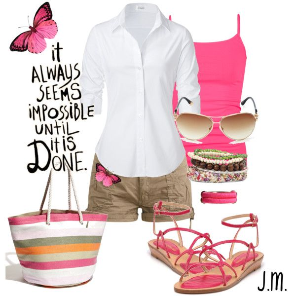 Great idea to wear bright jewelry, shoes, scarf or other accessories with classic white and khaki.: Pink Summer, Beaches, Style, Color, Summer Outfits, Shorts, Weights Watchers Recipes, Summer Fun, Bags
