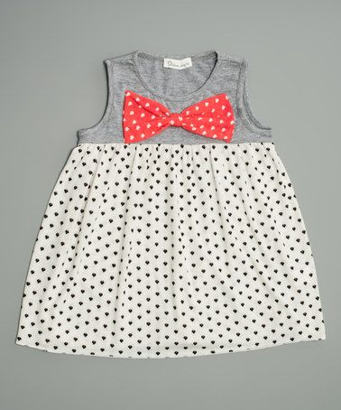 Loving this White & Gray Dot Bow Tunic - Toddler & Girls on #zulily! #zulilyfinds