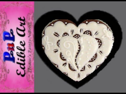 Elegant Heart cookie decorated with Royal Icing. Part 3 of 3 - YouTube
