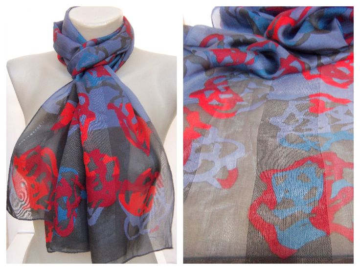 Vintage MARJA KURKI Finland Lng Stole Silk Scarf 58″x17″ Blue Red Abstract Pattern Scandinavian Design