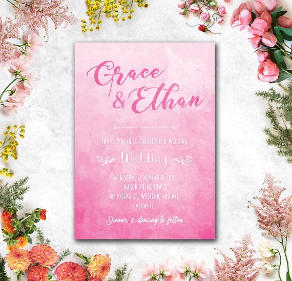 Digital  Printable Files  #Pink #Fuschia #Beach by WeddingSundaeShop #weddingshower #bridalshower #wedding #invitation   #printable #flowers #pink #etsy #weddingcard   #savethedate#weddinginvitation #card #watercolor   #weddingsundae