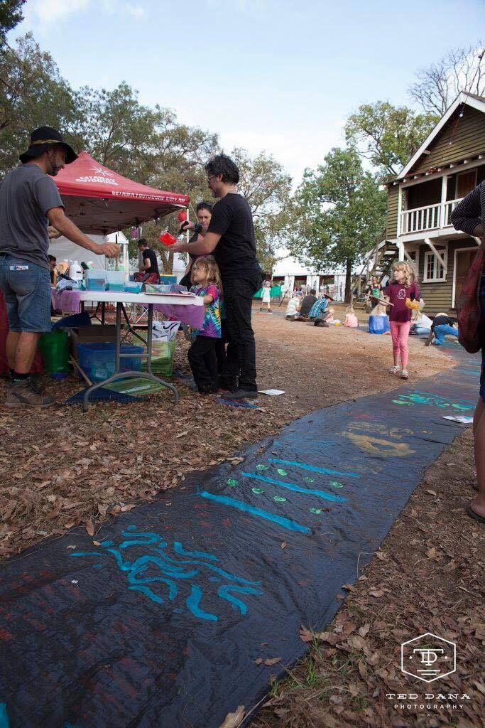 Some of the incredible paintings from our Rainbow Serpent Project at Fairbridge Festival. See more at www.fairbridgefestival.com.au  Photo by Ted Dana Photography