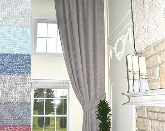 2 Extra Long Natural Linen Curtains Drapes Custom Made 10 12 Etsy Linen Curtains Long Curtains Living Room Curtains