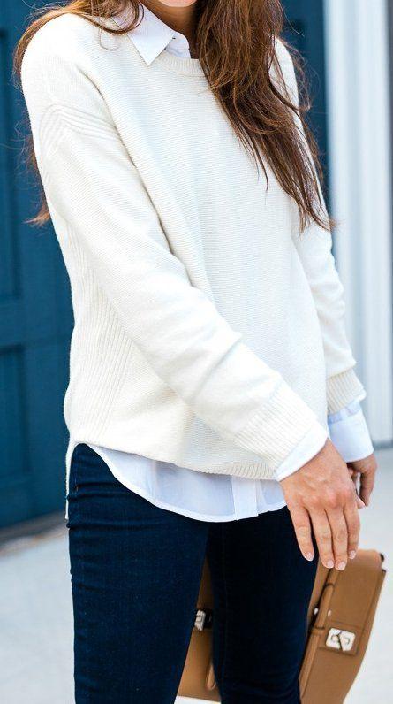 #thanksgiving #fashion · Cream Knit // White Shirt // Black Jeans // Camel Tote Bag