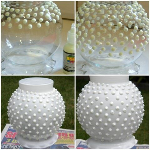 create your own hobnail milk glass with a dollar store vase, some puffy paint, and white spray paint - or any color of your choosing. I'm soooo trying this!!