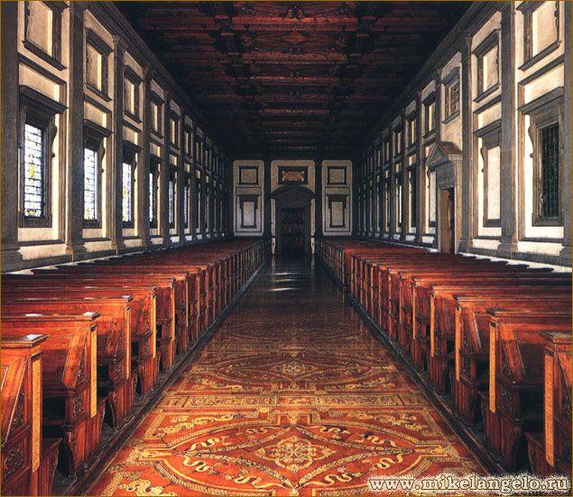 Читальный зал библиотеки Лауренцианы. Микеланджело.
