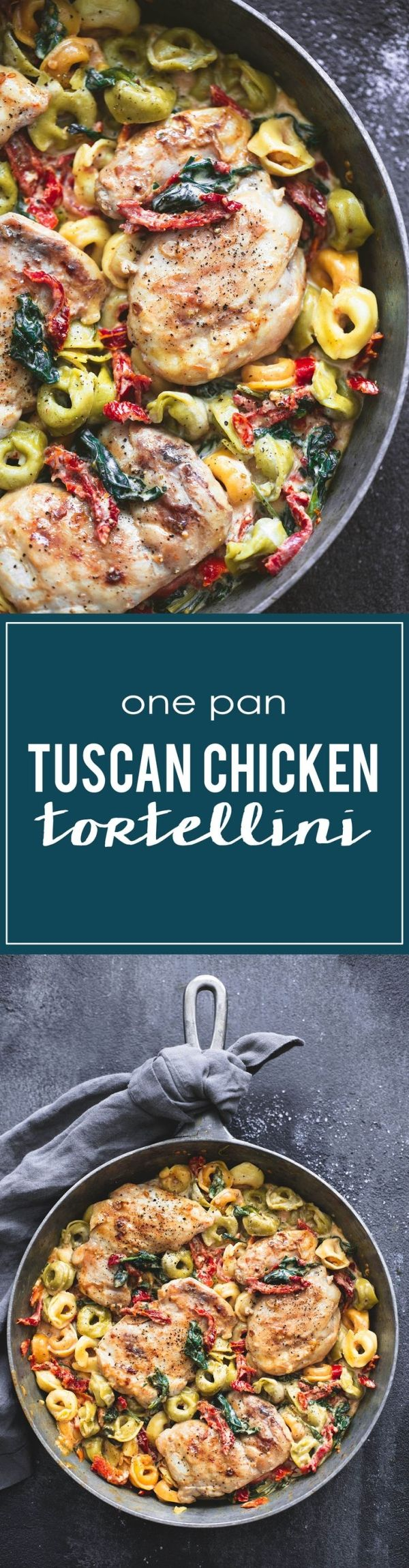 One Pan Tuscan Chicken Tortellini | lecremedelacrumb.com by georgette