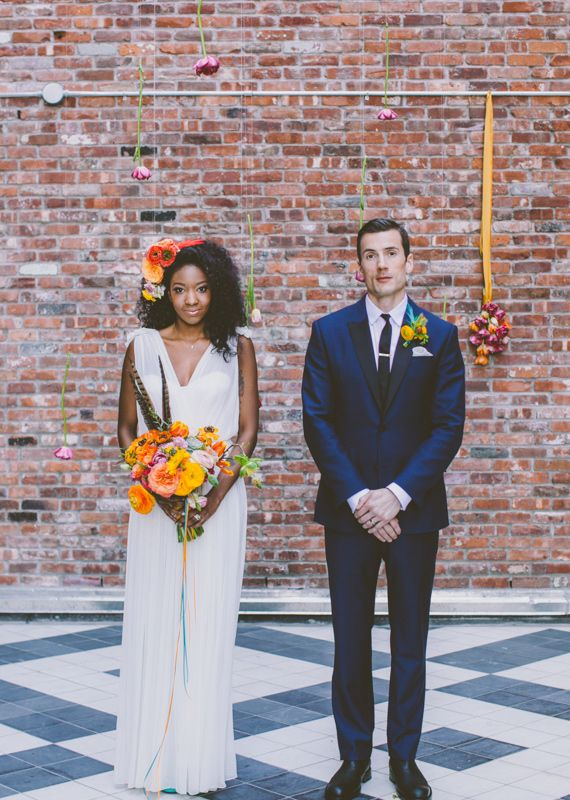 Bold flowers pair beautifully with our Daisy gown | photo by Amber Gress | as seen on 100 Layer Cake.  www.winifredbean.com