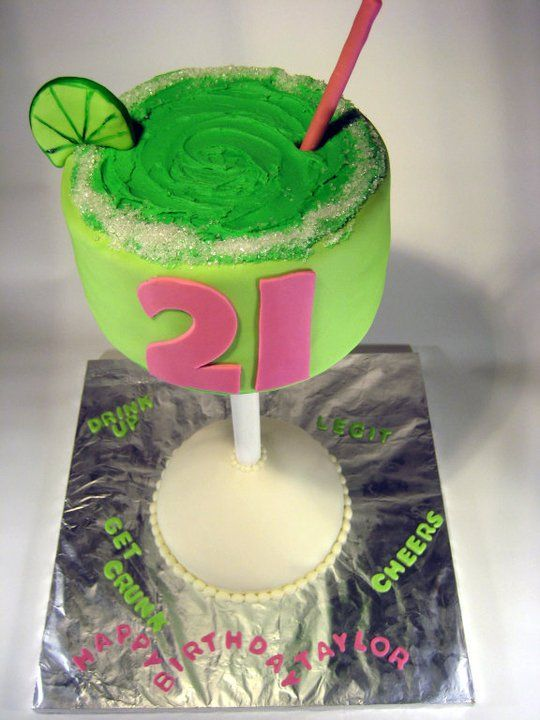 21st birthday cake! so cute!--is it weird I think this is cute, even though I don't drink alcohol, and would never make an alcoholic cake? virgin margarita cake, anyone?