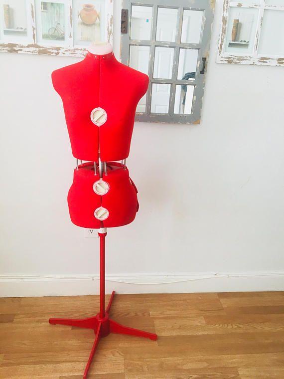 vintage adjustable mannequin dress maker dummy stand retro red