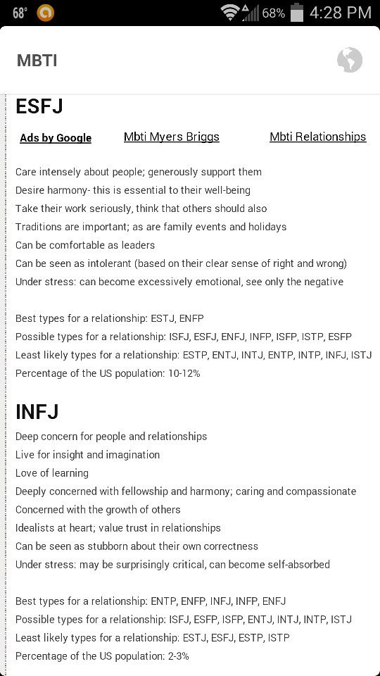 esfj and infj relationship