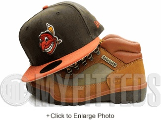 Cleveland Indians Mahogany Brown Rust Orange Tango Orange Primedore New Era Fitted Hat UP NOW ON MYFITTEDS.COM