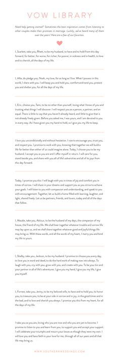 Find inspiration for writing personal wedding vows with these nine romantic examples!