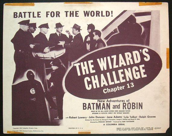 BATMAN AND ROBIN original 1949 title lobby card movie poster